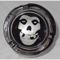 Small Round ASHTRAY - black and white - skull face