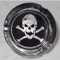 Small Round ASHTRAY - black and white - skull n crossbones