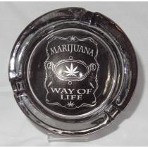 Small Round ASHTRAY - marihuana way of life black