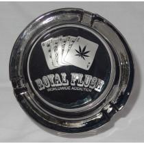 Large Round Glass ASHTRAY - royal flush